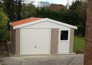 Lidget Compton concrete garage with door