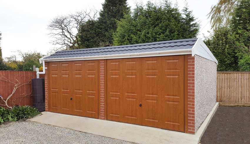 Double mansard concrete garage