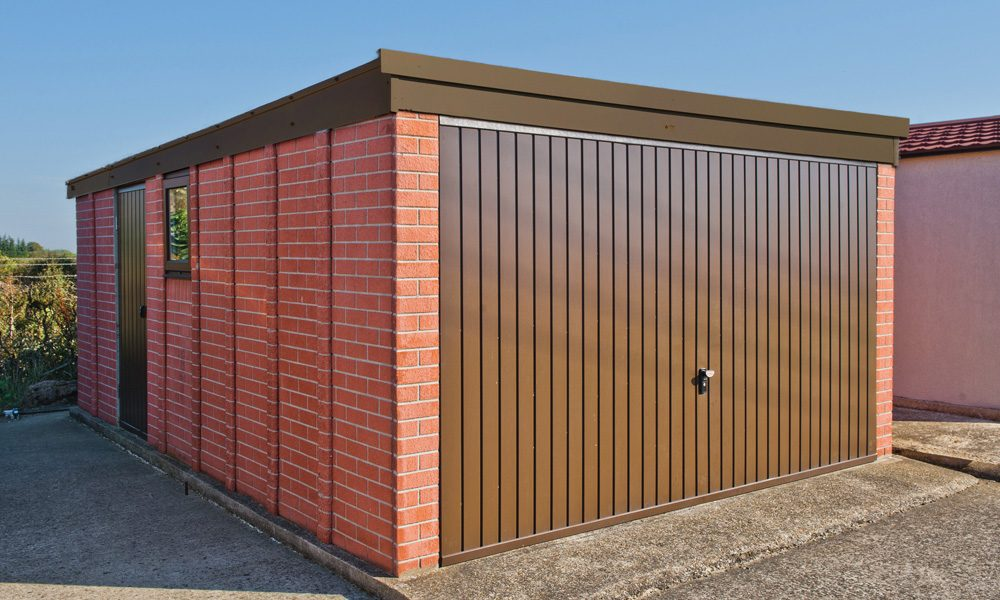 Pent brown facia concrete garage