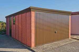 Pent brown facia concrete garage