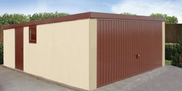 Pent double concrete garage
