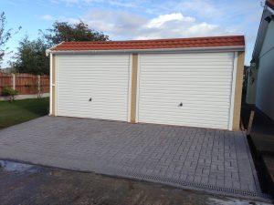 Pent mansard concrete double garage