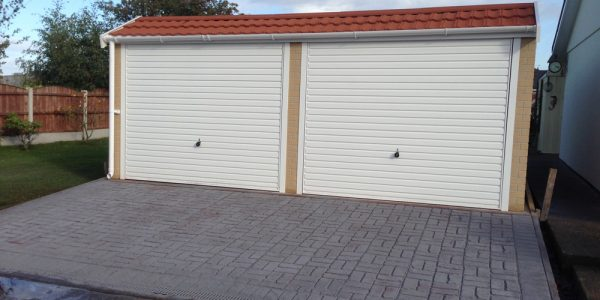 Pent mansard concrete double garage